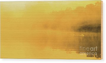 Misty Gold Wood Print