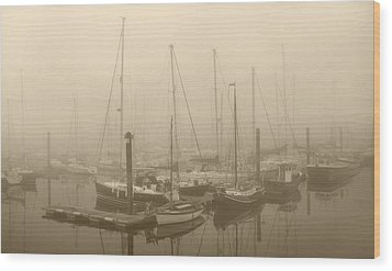 Misty Harbour Wood Print