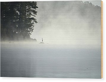 Misty Heron Wood Print