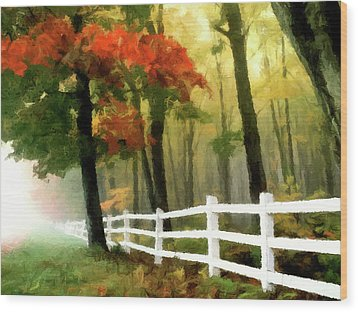 Wood Print featuring the painting Misty In The Dell P D P by David Dehner