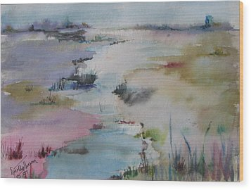 Misty Marsh Wood Print by Dorothy Herron