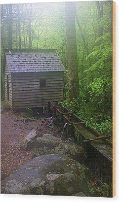 Misty Mill Wood Print by Marty Koch