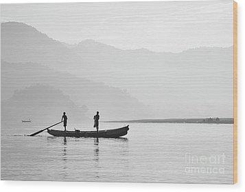 Misty Morning 3 Wood Print by Kiran Joshi
