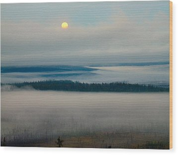 Misty Morning Along The Jim River Wood Print by Adam Owen