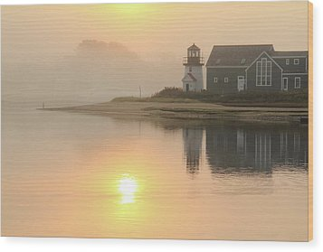 Misty Morning Hyannis Harbor Lighthouse Wood Print by Roupen  Baker