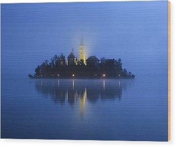 Misty Morning Lake Bled Slovenia Wood Print