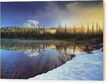 Wood Print featuring the photograph Misty Morning Lake by William Lee