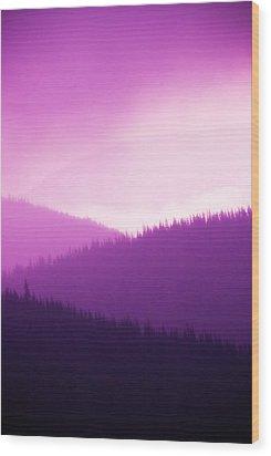 Misty Morning Mountains - Magenta Wood Print by Paul W Sharpe Aka Wizard of Wonders