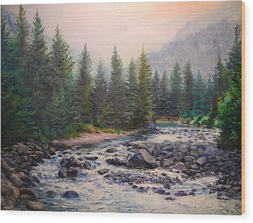 Misty Morning On East Rosebud River Wood Print by Patti Gordon