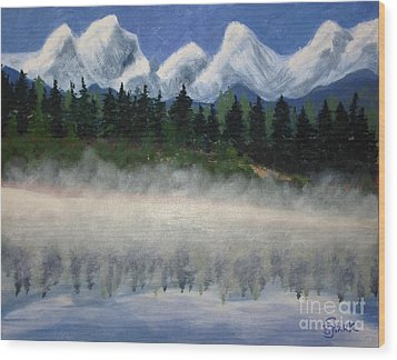 Misty Morning On The Mountain Wood Print