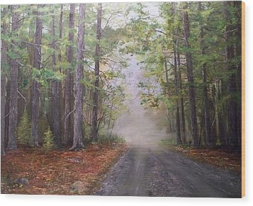 Wood Print featuring the painting Misty Morning Road by Ken Ahlering