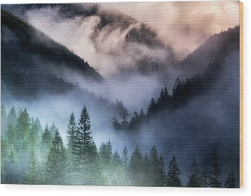 Misty Mornings Wood Print by Nicki Frates
