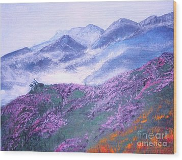 Wood Print featuring the painting Misty Mountain Hop by Donna Dixon
