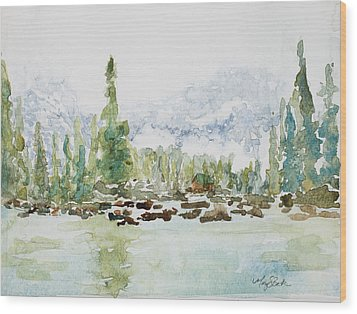 Misty Mountain Lake Wood Print by Mary Benke