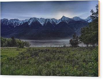 Wood Print featuring the photograph Misty Mountain Morning Meadow  by Darcy Michaelchuk