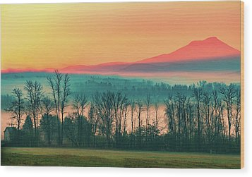 Misty Mountain Sunrise Part 2 Wood Print by Alan Brown
