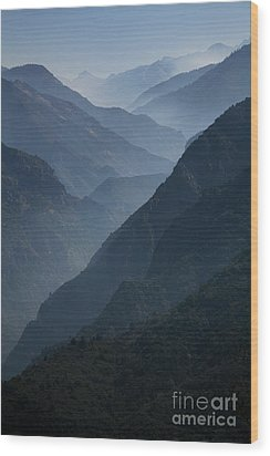 Misty Peaks Wood Print by Timothy Johnson