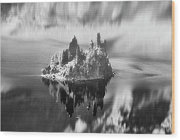 Wood Print featuring the photograph Misty Phantom Ship Island Crater Lake B W  by Frank Wilson