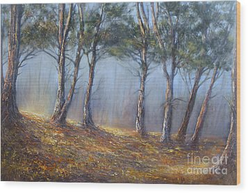 Misty Pines Wood Print