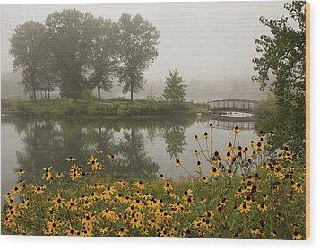 Misty Pond Bridge Reflection #3 Wood Print