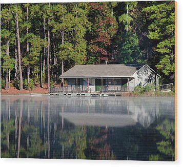 Wood Print featuring the photograph Misty Reflection At Durant by George Randy Bass