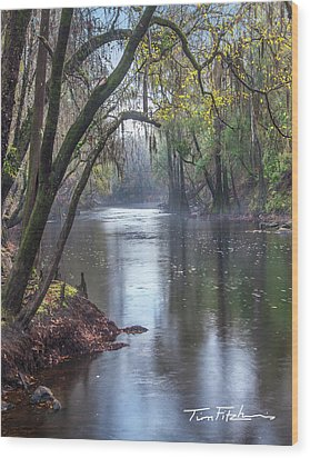 Misty River Wood Print by Tim Fitzharris
