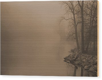 Misty River - Vintage  Wood Print