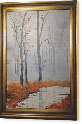 Misty Stream In Autumn Wood Print