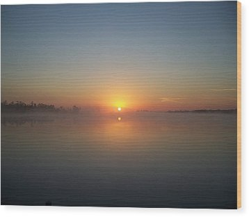 Misty Sunrise Wood Print