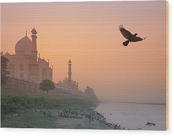 Misty Taj Mahal Wood Print by Marji Lang