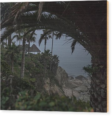 Wood Print featuring the photograph Misty View Of Gazebo Along Heisler Park by Cliff Wassmann