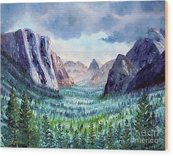 Misty Yosemite Valley Wood Print by Laura Iverson