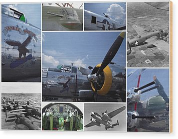 Mitchell B-25 Collage Wood Print by Don Struke