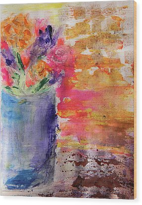 Mixed Bouquet Wood Print by Lisa McKinney