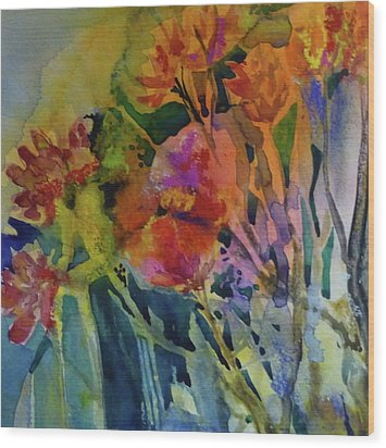 Mixed Media Flowers Wood Print by Donna Acheson-Juillet