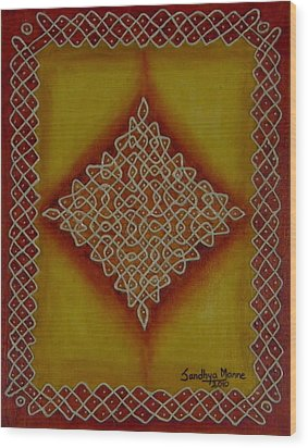 Mixed Media Kolam Four Wood Print by Sandhya Manne