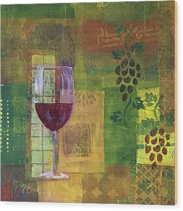 Mixed Media Painting Wine Wood Print