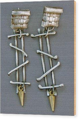 Mixed Metal Earrings Wood Print by Mirinda Kossoff