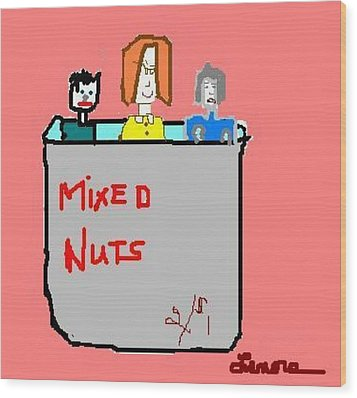 Mixed Nuts Wood Print by Lenore Senior