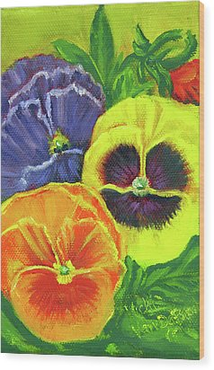 Mixed Pansy Seed Packet Wood Print