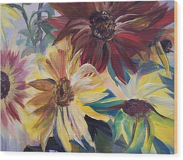 Mixed Sunflowers Wood Print