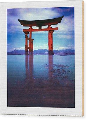 Miyajima Island Torii Wood Print by Luca Baldassari