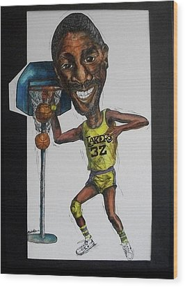 Mj Caricature Wood Print