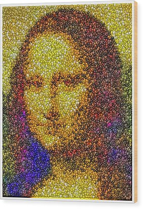 Wood Print featuring the mixed media Mm Candies Mona Lisa by Paul Van Scott