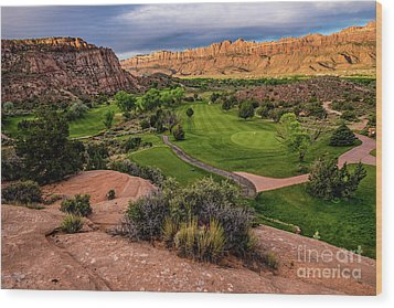 Moab Desert Canyon Golf Course At Sunrise Wood Print by Gary Whitton