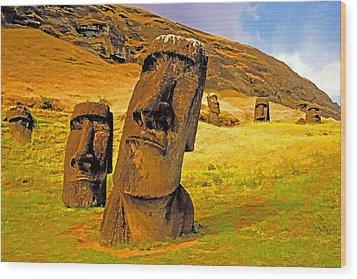 Moai Wood Print by Dennis Cox