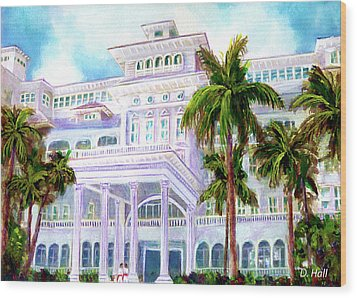 Moana Surfrider Hotel On Waikiki Beach #206 Wood Print by Donald k Hall