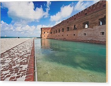 Moat And Walls Of Fort Jefferson Wood Print by George Oze