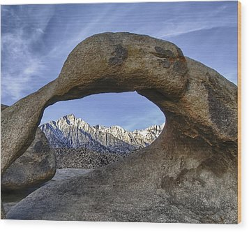 Mobius Arch And Lone Pine Mt. Wood Print
