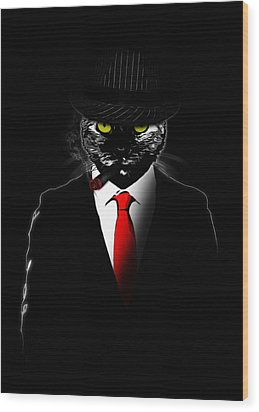Mobster Cat Wood Print by Nicklas Gustafsson